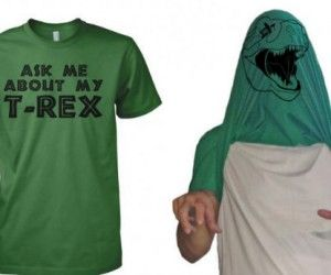 Rawr! Be your very own dinosaur with the Ask Me About My T-Rex shirt Eli would proble never take his head out of his shirt