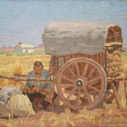 Antonio López Torres (1946): Segador entre las varas de un carro. Museo Antonio López Torres