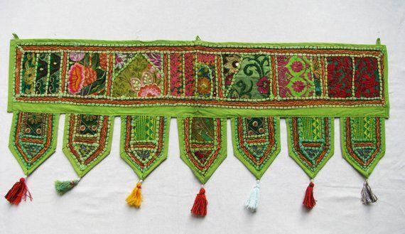 Indian Embroidery Patchwork Door Hanging Vintage Handmade Window Valance Toran