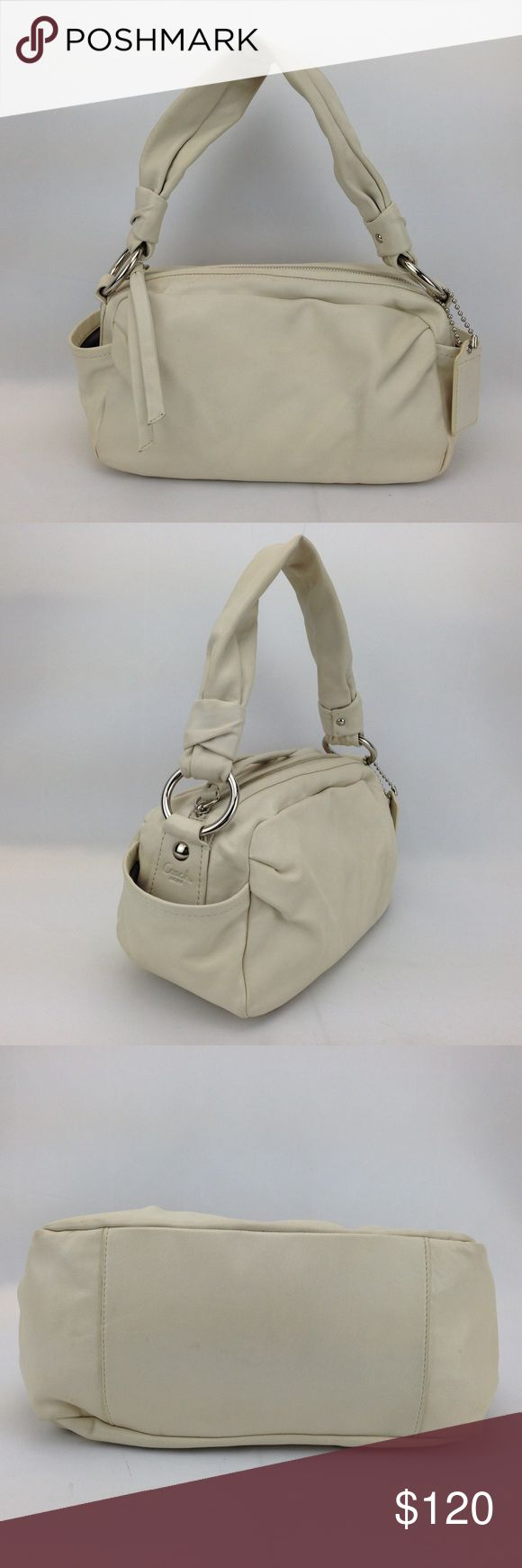 """COACH Cream Twister Leather Hobo Shoulder Bag Coach Parker Twister Leather Shoulder Hobo Bag in great condition! 100% pre-owned authentic. Style 13442 Exterior features: cream leather w/ tonal stitching, silver-tone hardware, hanging leather logo tag, side open pockets, logo embossed into leather on one side, twisted leather shoulder strap w/ 8"""" drop, zip top closure w/ leather zipper pull. Interior features:grey woven lining, cream leather logo patch, zippered pocket on 1 wall w/ leather…"""