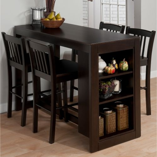 Tribeca Counter Height Table W 3 Storage Shelves In Merlot By