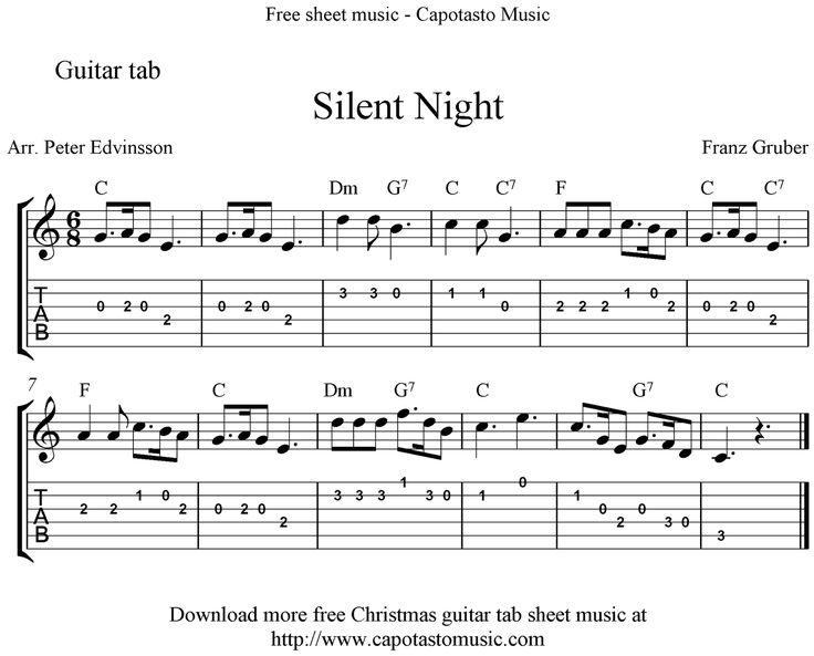 silent night easy sheet music sheet music scores silent night easy free christmas guitar tab. Black Bedroom Furniture Sets. Home Design Ideas