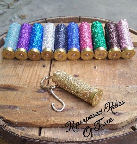 Bullet keychain, shotgun jewelry, glitter casing, hunting key ring, fish hook, fishing