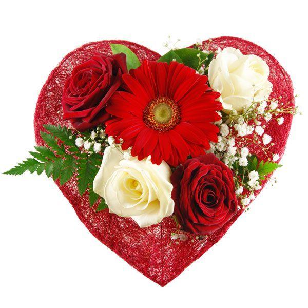 Der Blumenstrauß Herzensglück für die Angebetete. Eine zauberhafte Komposition aus Rosen, Gerbera und Grün. Das Blumenherz für Ihre Herzdame.