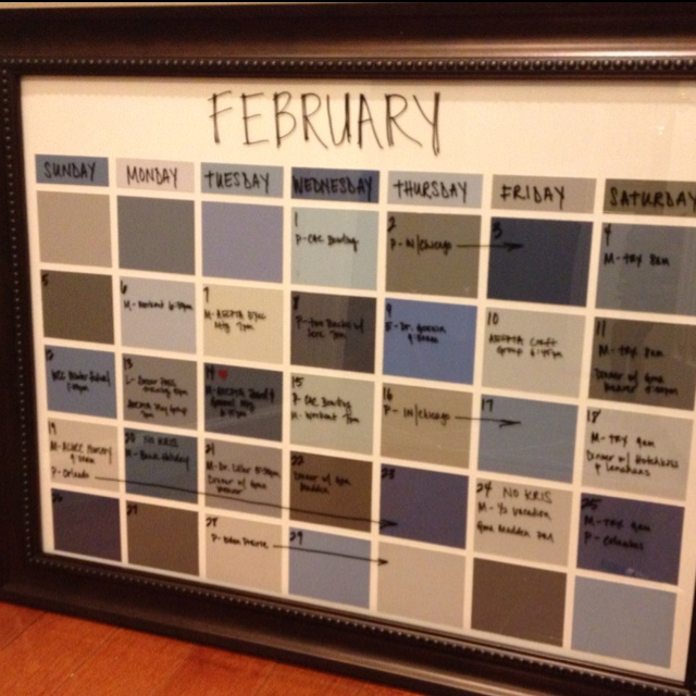 diy dry erase calendar great idea from aesthetic writer this is the one i made just used frame from michaels off plus off coupon and paint chips