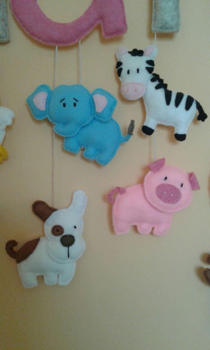 Słoń, pies, zebra, świnia filc