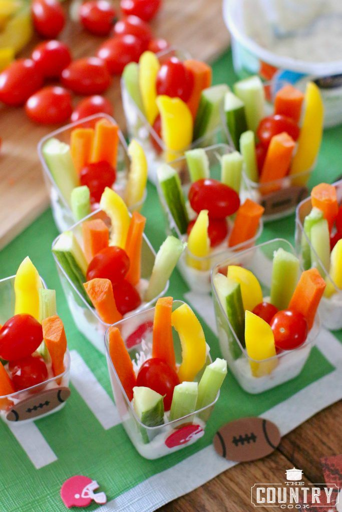The football crowd went crazy over these cute veggie cup appetizers. And, it was a great way to get healthy veggies in them! #ad