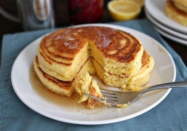 Lemon Cornmeal Pancakes | Cornmeal Pancake Recipe | Two Peas & Their Pod