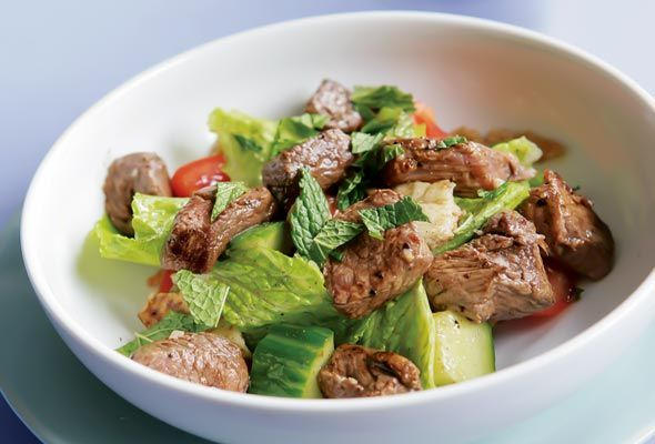 Grilled Lamb Kebab Salad, Cucumber, Tomatoes, and Pita from Leites ...