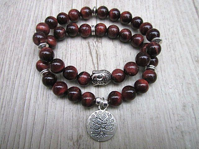 Ensemble de bracelets oeil de tigre rouge buddha, arbre de vie méditation de la boutique BijouxDesignselect sur Etsy