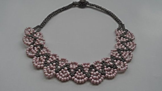 Grey Pink Handmade NecklaceKnitting by AccessoriesInLove on Etsy, $16.90