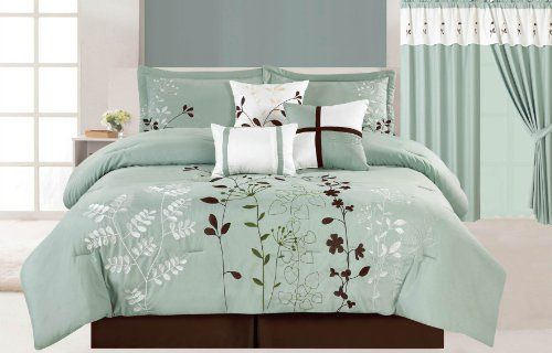 7 Pcs Floral Embroidered Microfiber Comforter Set Blue
