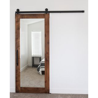 rustica hardware 42 x 84 inch mirror barn door with flat track hardware by rustica hardware - Bathroom Doors Design