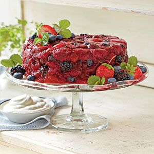 Very Berry Tiramisu Pudding Cake....  Serve this juicy showstopper with sweetened whipped cream, or dollop on extra tiramisù flavor by folding together equal parts sweetened whipped cream and mascarpone cheese.