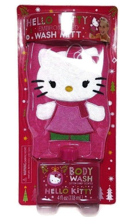 Hello Kitty Bath Wash Set Cotton Candy Body & Embroidered Mitt Shower Fun Kids  #Sanrio