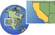 Los Angeles, Californie, États-Unis carte de localisation de fuseau horaire frontières