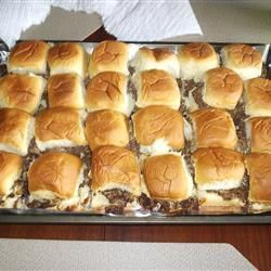 beef sliders (seriously amazing, put them out at a party and they will be gone in minutes) ground beef, onion soup/recipe mix, cheddar cheese, mayo, kings hawaiian rolls and pickles optional (Burger Recipes In And Out)