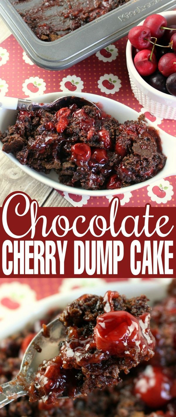 Chocolate Cherry Dump Cake is a super easy dessert that literally anyone can make. With just a handful of ingredients you probably have everything you need in your pantry right now to whip up a delicious pan of this chocolate cake layered over a bed of cherry pie filling. An irresistible dessert recipe!