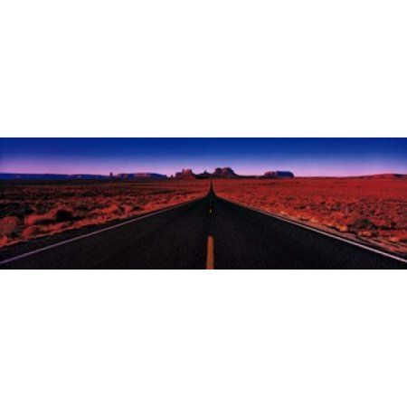Road Monument Valley Tribal Park UT USA Canvas Art - Panoramic Images (36 x 12)