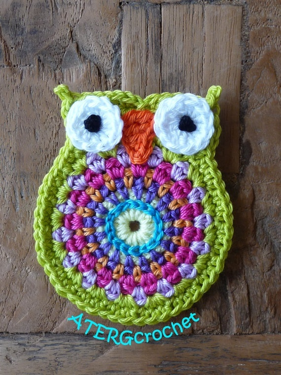 Crochet owl application anice by ATERGcrochet on Etsy