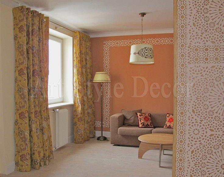 Шторы на люверсах для интерьера гостиной в этническом стиле #curtains