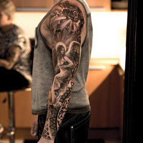 Angel Sleeve Tattoo | Best tattoo design ideas