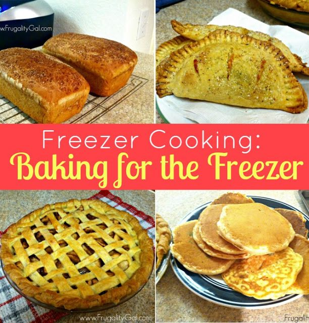 Freezer Cooking - Baking for the Freezer. Pancakes and bread for breakfast. Hot pockets for lunch and brownies and pie for dessert! #frugal