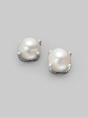 David Yurman White Freshwater Pearl, Diamond, and Sterling Silver Earrings