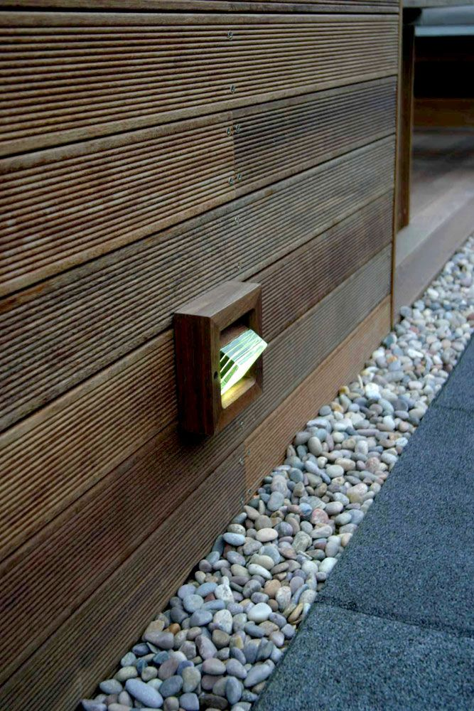 Terrace wall boarding with integral lights