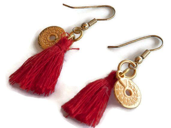 Tassel Earrings, Red coin Earrings, fringe earrings, Boho Earrings, Dangle Earrings, Christmas gift, gift for her, bridesmaid, anniversary