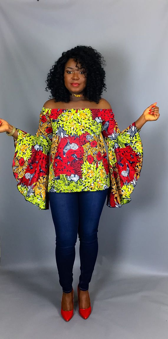 African print off shoulder topAfrican clothingAfrican