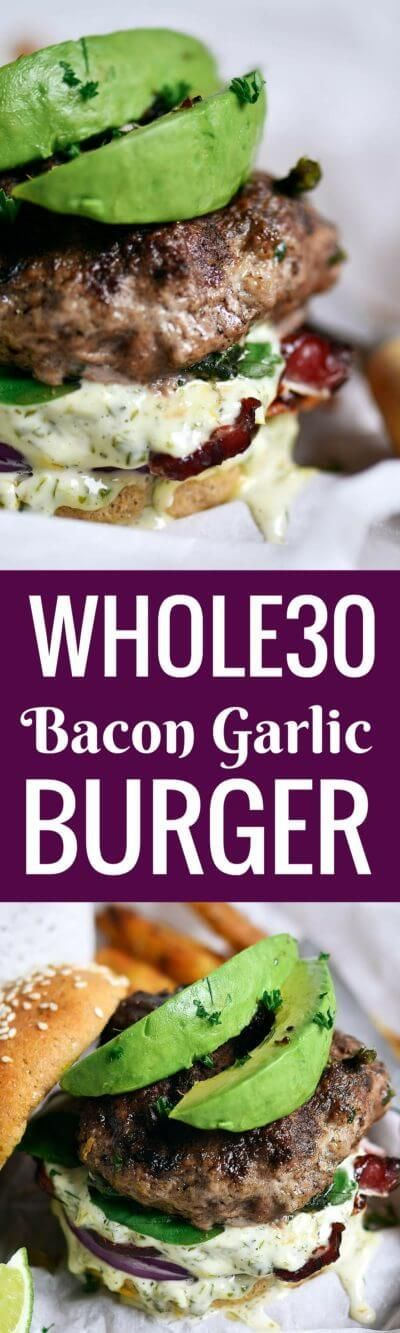 LEGIT whole30 bacon avocado burgers! Loaded with fresh basil and garlic. Topped with a creamy white sauce and red onion. whole30 burger recipe. whole30 burger patties. whole30 beef burgers. whole30 me