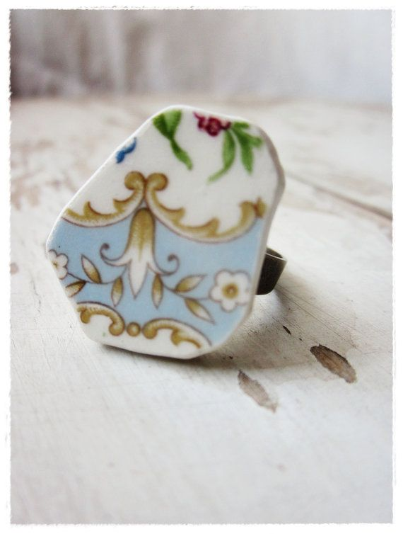 Shabby and Chic Ring Blue Repurposed Vintage by beevintageredux, $20.00: Kind Upcycled, Cocktail Rings, China Ring, Blue Repurposed, Blue Floral, Chic Jewelry