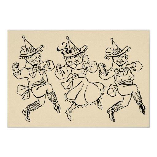 Magicien d'Oz vintage, Munchkins de danse mignon ! Poster