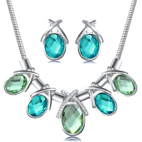Oval Pendant Necklace + Pair of Earrings