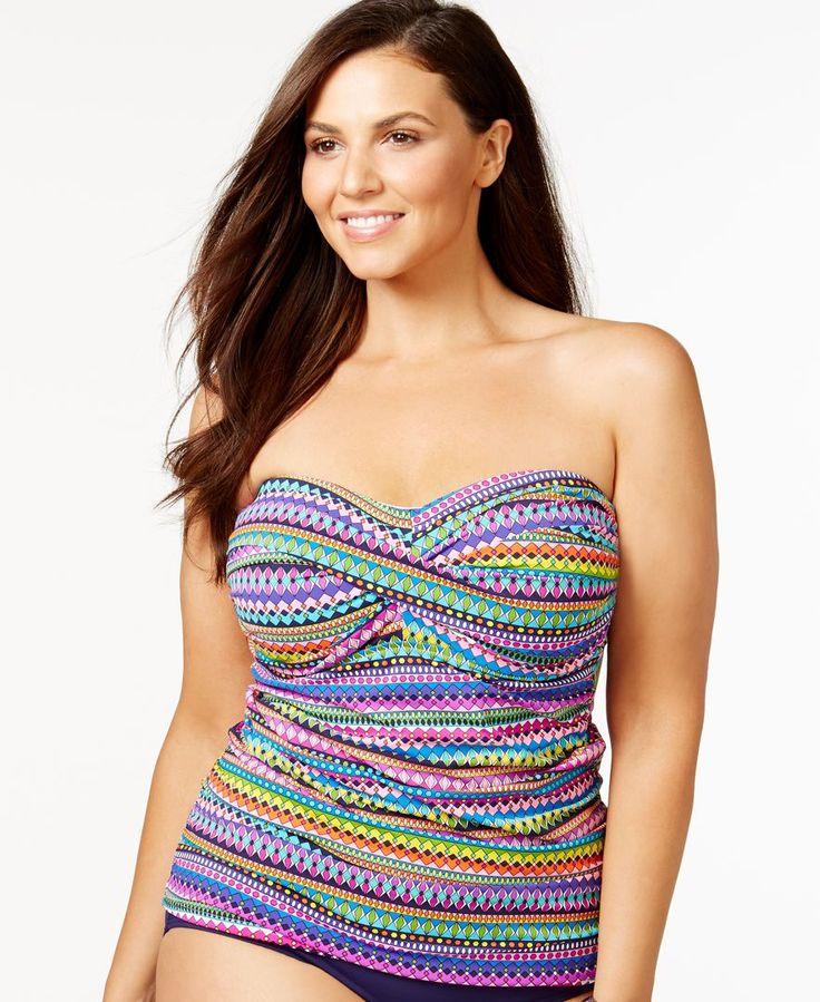 Anne Cole Plus Size Multicolor Bandeau Tankini Top