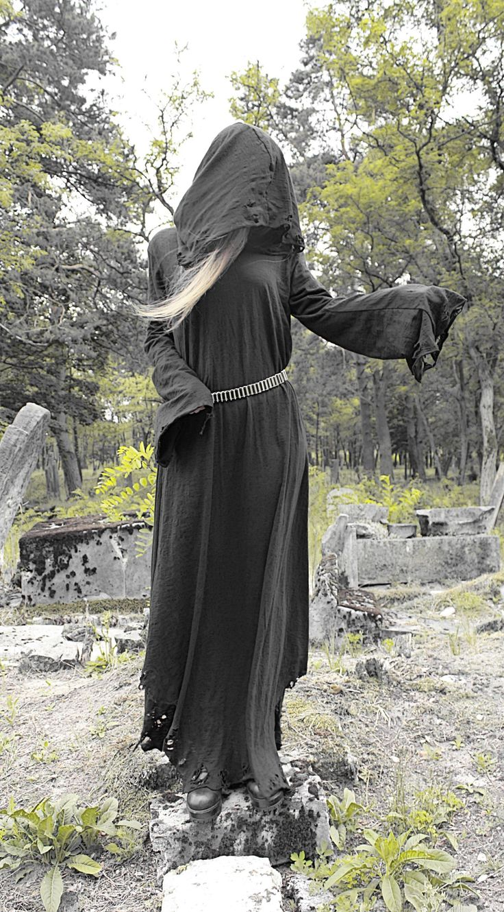 --> STRICTLY LIMITED TO A SINGLE PIECE!!! <--Ripped long dress with a huge hood and wide extra long sleeves. Made of soft ORGANIC cotton. Fully handcrafted. One of a kind; as unique a...