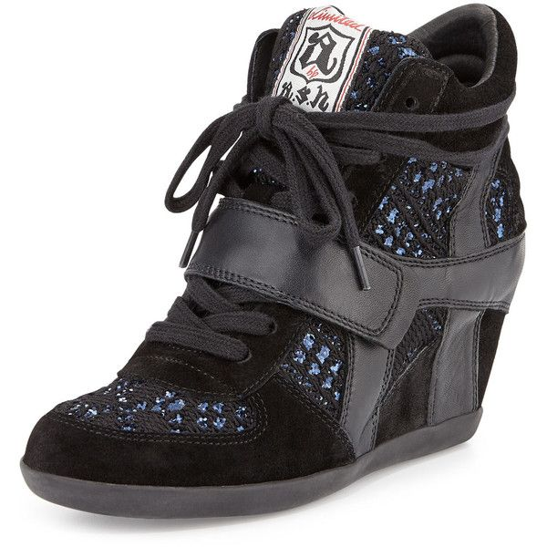 Ash Bowie Sequined Hidden-Wedge Sneaker ($123) ❤ liked on Polyvore featuring shoes, sneakers, lace up sneakers, black strappy shoes, suede shoes, ash sneakers and suede sneakers