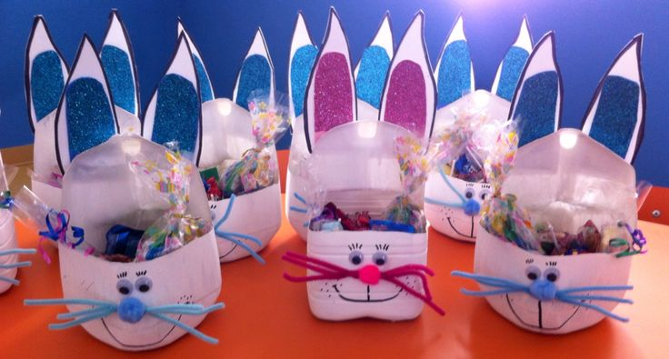 Canasta de Pascua con material reciclable