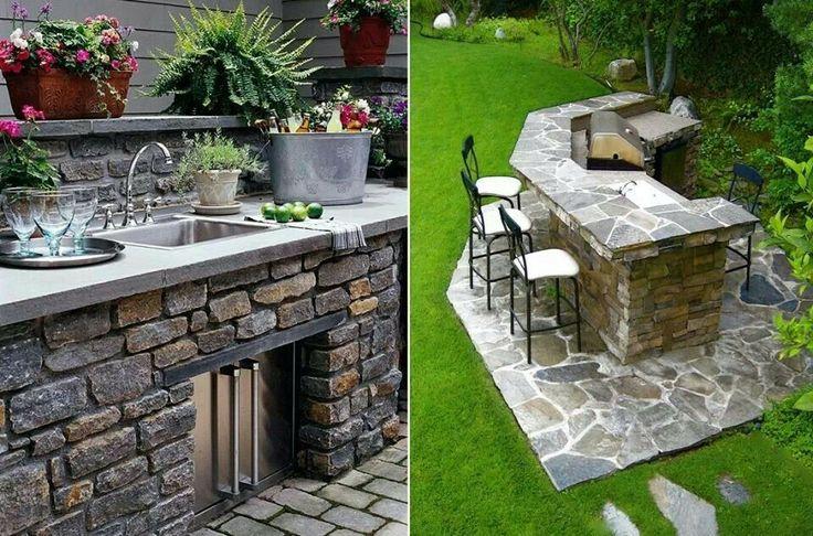 Buena idea para el jardin de casa exteriores de la casa for Barras de bar rusticas para jardin