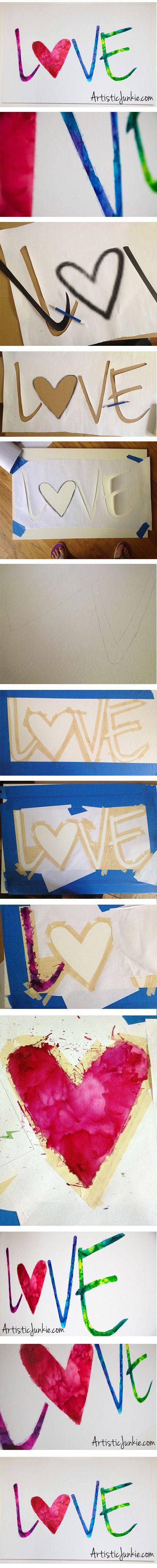 Love, Melted Crayon Art DIY tutorial