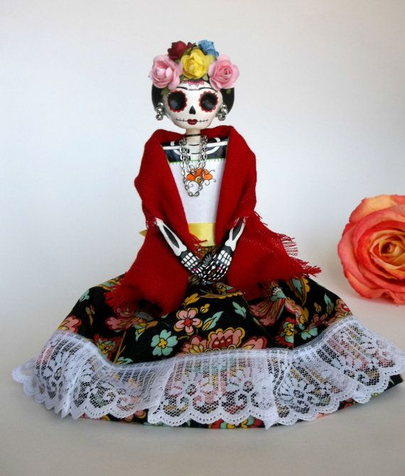 Seated Frida. Paper mache catrina. Day of the dead Frida Kahlo doll.  by LaCasaRoja, etsy