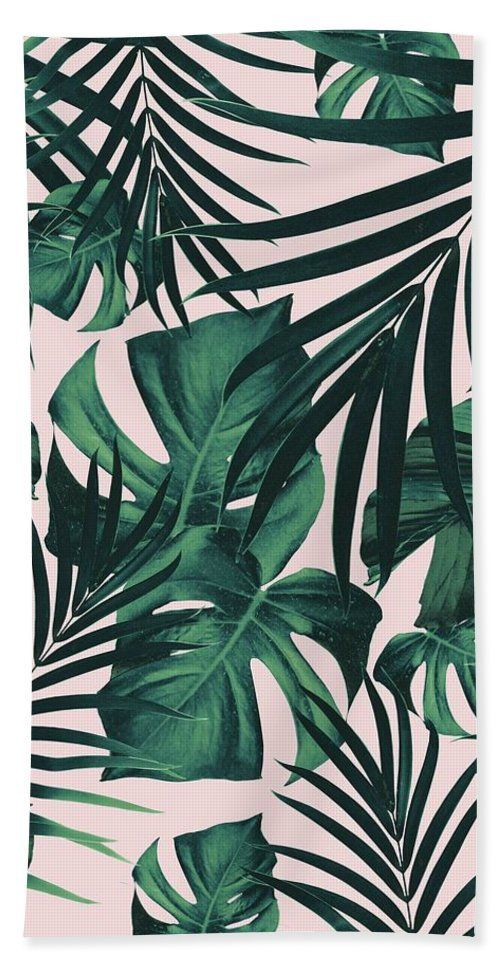 Tropical Jungle Leaves Pattern #5 #tropical #decor #art Beach Towel for Sale by Anitas and Bellas Art – Jasmine Prud'homme