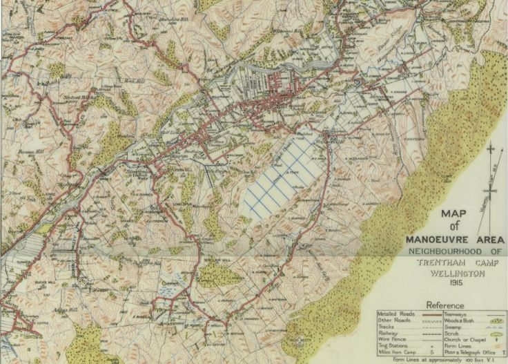Sharing Map of Manoeuvre Area, Neighbourhood of Trentham Camp, 1915  at Upper Hutt City Library