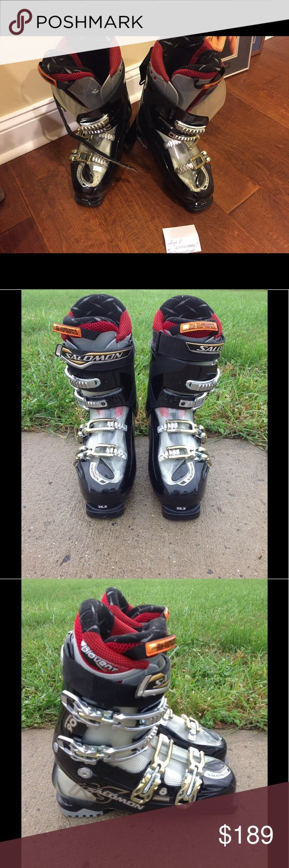 Solomon men's ski boots size 11. Worn once! Men's Great pair of Solomon boots!  Worn once!  High performance boots.  I recommended getting the inserts from sporting good store, so your feet won't smell!  $400.00 new!  Added shipping cost is included in price (they are very heavy, and it's about another$20.00 to ship!). Salomon Shoes Athletic Shoes