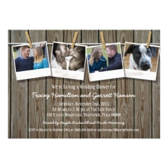 Rustic Clothesline Wedding Shower Photo Announcement Cards. A clothesline is strung across wooden boards with photos held on by clothespins. Add your photos and your event text underneath.
