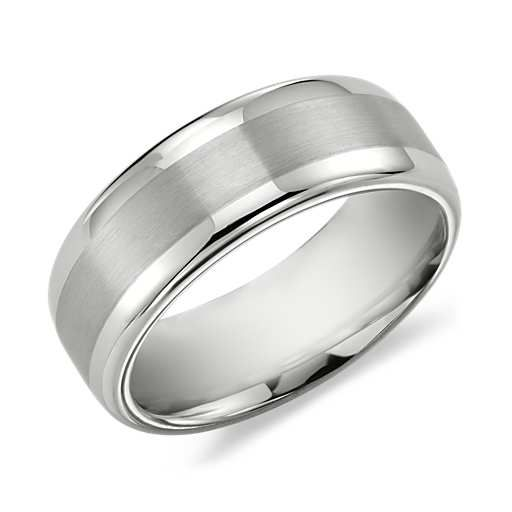 Brushed Inlay Comfort Fit Wedding Ring in White Tungsten Carbide (8mm), this is Jeff's ring!!