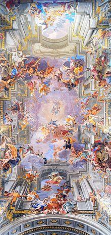 Quadratura di Andrea Pozzo, Gloria di sant'Ignazio, chiesa di Sant'Ignazio, Roma