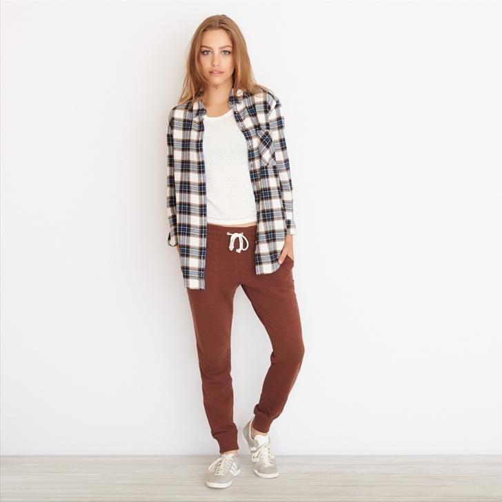 Cream Combo Boyfriend Flannel Plaid Shirt