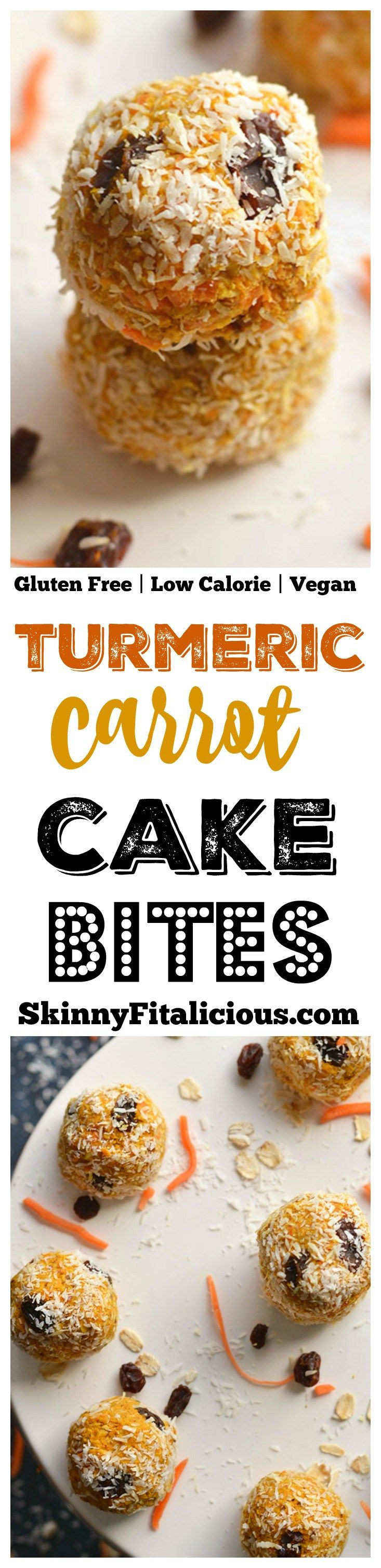 Turmeric Carrot Cake Bites! Made with 8 wholesome ingredients, these nutrition dense bites are a delicious no bake snack you can take with you anywhere. Gluten Free + Low Calorie + Vegan